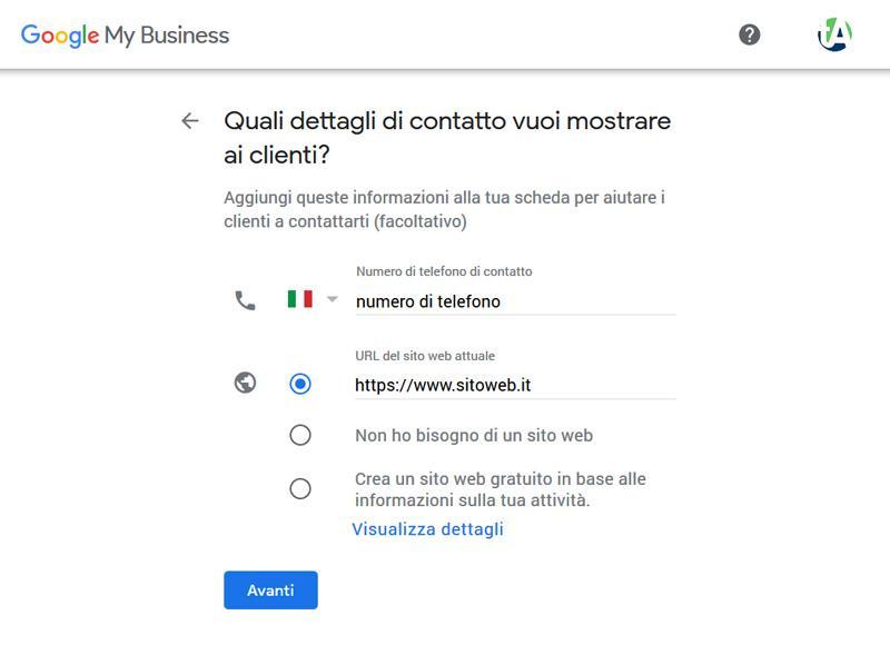 Dettagli aziendali Google My Business