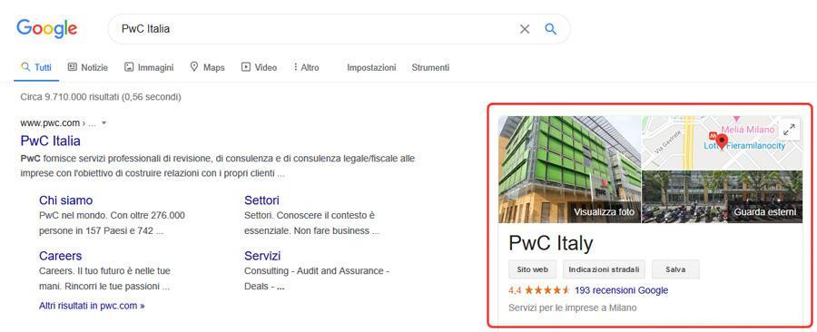 La scheda attività su Google My Business